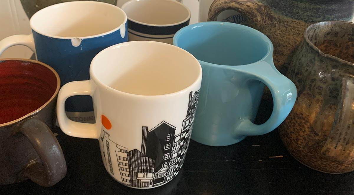 Various coffee mugs on a table