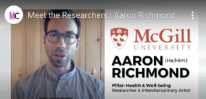 The face and name of Aaron Richmond, student researcher are featured in this image